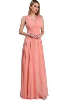 Carmen Somon Şifon V Yaka Uzun Abiye Elbise