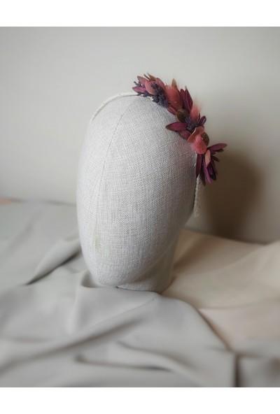 Eva Flore Lavantalı Kuru Çiçekli Taç, Gelin Tacı - Saç Aksesuarı - Çiçekli - Lohusa