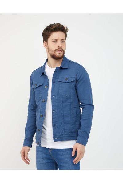 Byyasar Mavi Slim-Fit Kot Ceket