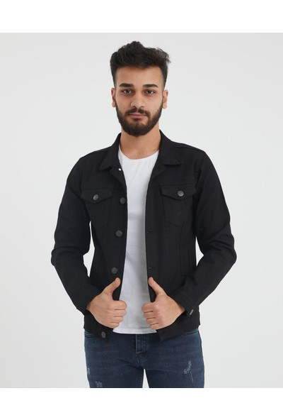 Byyasar Siyah Slim-Fit Kot Ceket