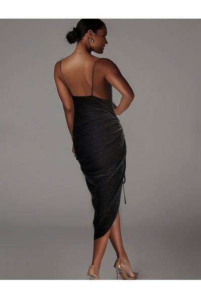Ergü Kadın Jakarlı Füme Degaje Yaka Ip Askılı Ayarlanabilir Büzgü Detaylı Elbise
