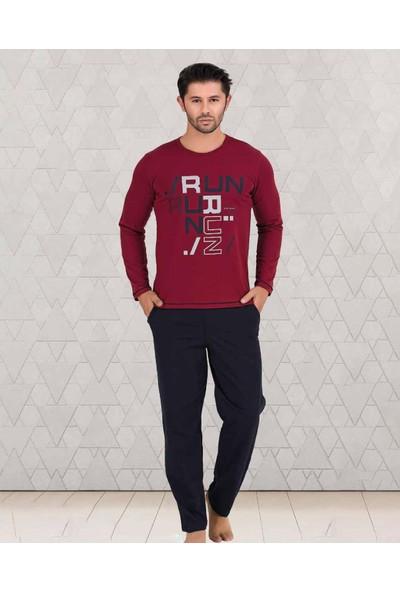 Berland Kırmızı Modal Bisiklet Yaka Yeni Sezon Erkek Uzun Kollu Pijama Takımı