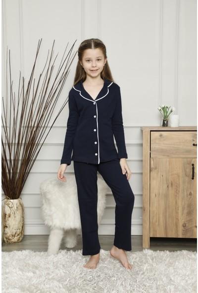 Çekmece Lacivert Düğmeli Biyeli Uzun Kol Pamuklu Pijama Takım