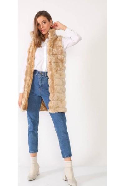 Abay Collection Kadın Bej Boğumlu Uzun Peluş Kürk Yelek