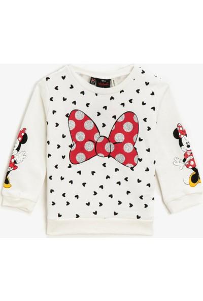 Koton Minnie Mouse Lisansli Simli Baskılı Uzun Kollu Sweatshirt