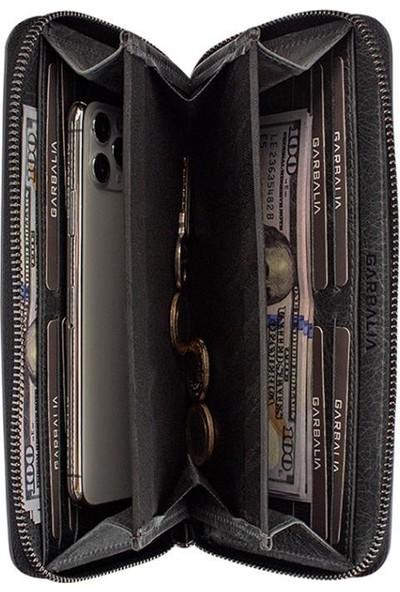 Garbalia Murphy Crazy Deri Telefon Bölmeli Mıknatıslı Portföy Cüzdan Siyah