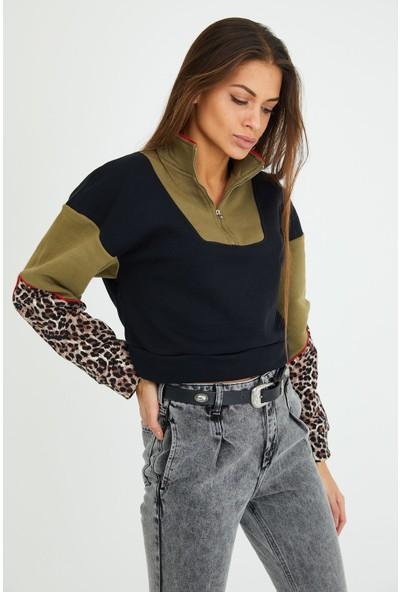 4 Sisters Fashion Leoparlı Fermuarlı Polo Yaka Renkli Sweatshirt