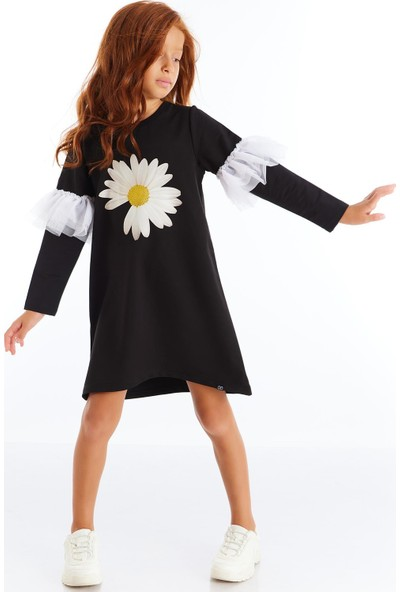 Colorinas Papatya Baskılı Tütülü Elbise Siyah