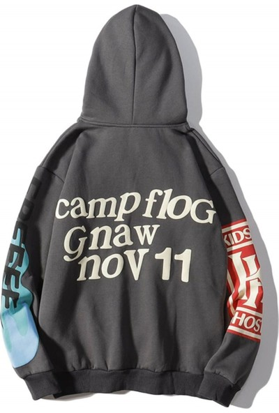Madmext Mad Girls Antrasit Baskılı Oversize Sweatshirt MG903