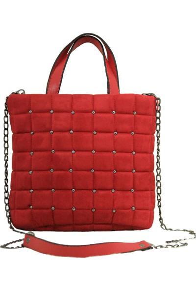 Modames Kırmızı Süet Kare Işlemeli Zincir Askılı Omuz Çantası