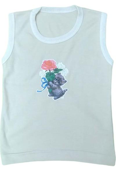 My Little Baby Kolsuz Krem Rengi Gül Baskılı Kız Çocuğu Tişörtü