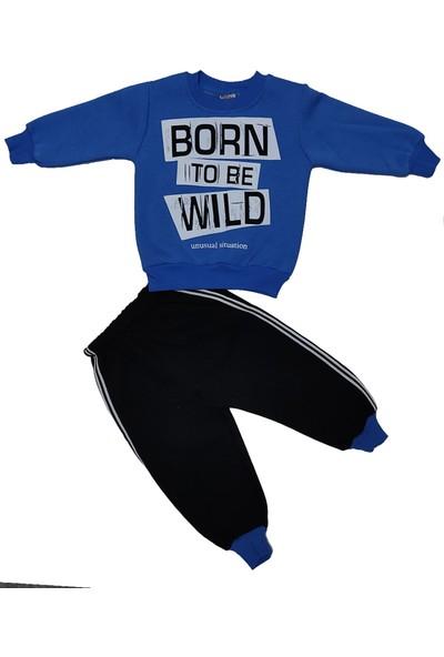 Papido Born To Be Baskılı 2'li Erkek Bebek Takım - Mavi