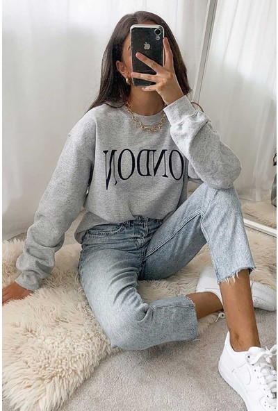 Madmext Mad Girls Gri Kadın Sweatshirt MG699