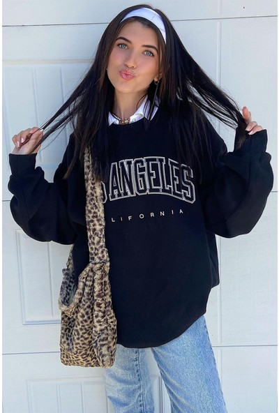 Madmext Mad Girls Lacivert Baskılı Oversize Kadın Sweatshirt MG780