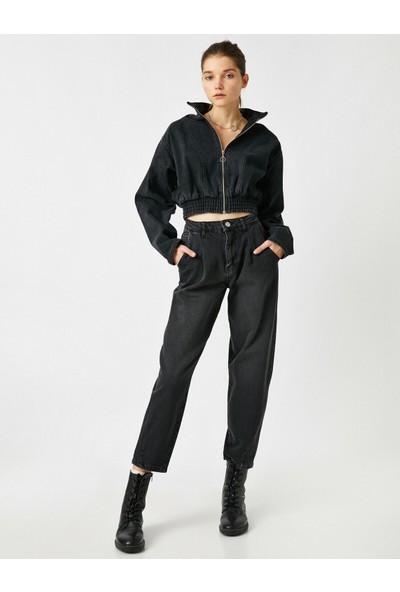 Koton Eva Slim Jean - Yüksek Bel Normal Kesim Hafif Düz Paça Pantolon