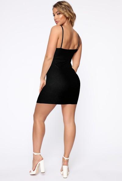 Ergü Siyah Simli Petek Kumaş V Yaka Askılı Kadın Elbise