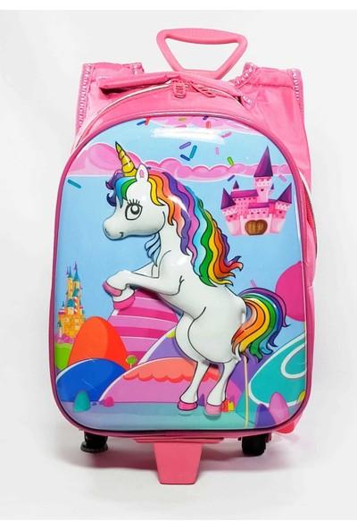 Dünyanın Çantası Unicorn Tek Fermuarlı Anaokulu ve Ilkokulu Çantası Unicorn Çekçekli Tekerlekli Çanta