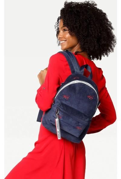 Kadın Tommy Hilfiger Tjw Logo Tape Mini Backpack Cord Kadın Sırt Çantası AW0AW09101