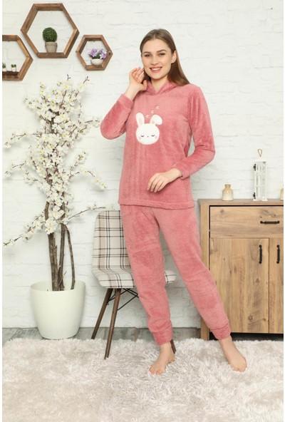 AKASYA Kadın Uzun Kollu Nakış Desen Kapüşonlu Tam Peluş Pijama Takımı 1723