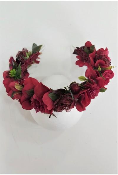 Eva Flore Kırmızı Bordo Çiçekli Taç - Kırmızı Lohusa Tacı - Bordo Çiçekli Taç - Kına Tacı - Gelin Çiçekli Taç