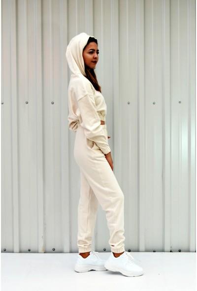Mgs Life Kadın Krem Renkli Yüksek Bel Eşofman ve Kapüşonlu Crop Sweat Ikili Takım S