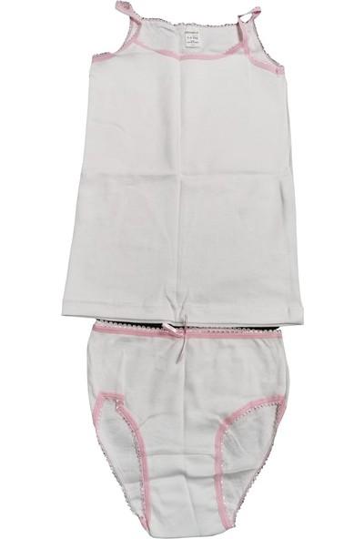 Defne Kız Çocuk Beyaz Pembe Slip Dantelli Alt Üst Set DFN105