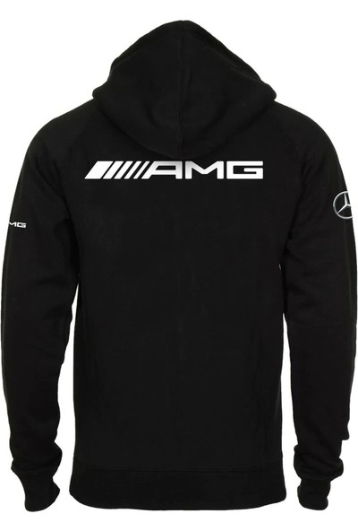 Zenbuy Erkek Siyah Mercedes Amg Kapşonlu Fermuarlı Sweatshirt