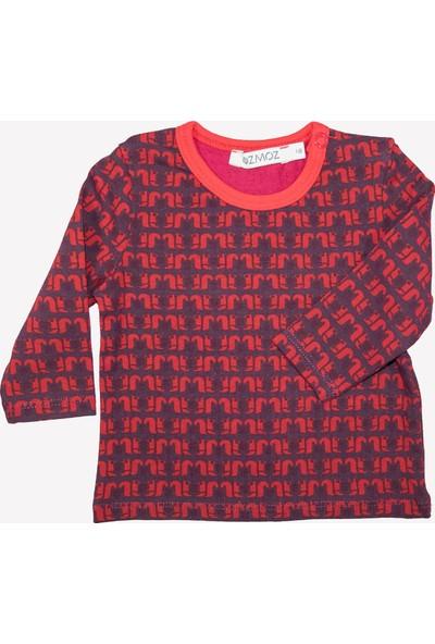 OZMOZ Sincap Desenli Kırmızı Bebek Kışlık Patikli Pijama Takımı