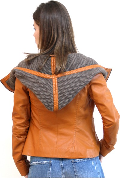 Vigor Leather Helens Kadın Deri Ceket Turuncu - VIGWLJY20W01T003