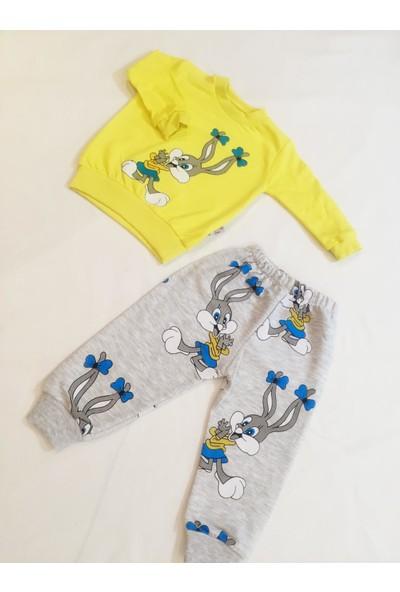 By Murat Kız Bebek Pembe Tavşanlı Ikili Pijama Takımı