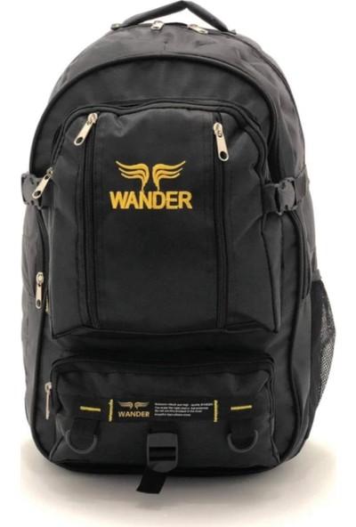 Wander Dağcı Siyah Renk Sarı Işlemeli Sırt Çantası