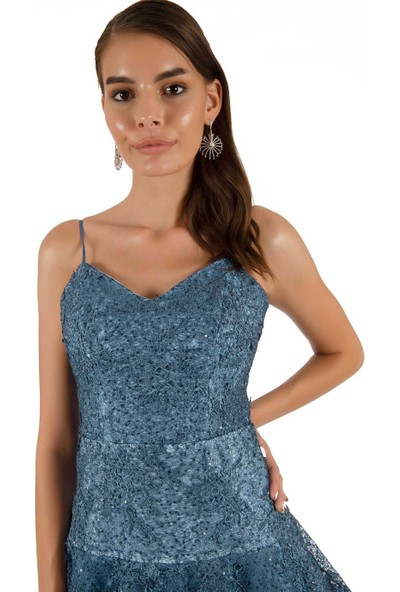 Carmen Indigo Fırfırlı Brode Kısa Abiye Elbise