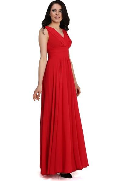 Carmen Kırmızı Şifon V Yaka Uzun Abiye Elbise