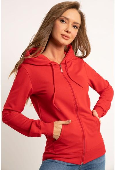 Hadise Fermuarlı Kapşonlu Sweatshirt Kırmızı L