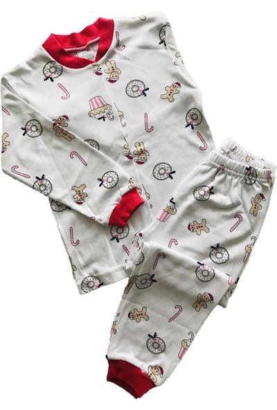 Seçkin Baby Donutlu Önden Düğmeli Çocuk Pijama Takım Pamuk