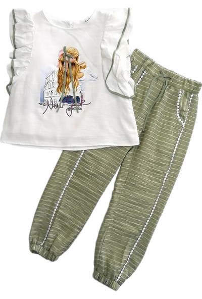 Midimod-M20430 Kız Pantolonlu Ikili Tk 6-Yesıl