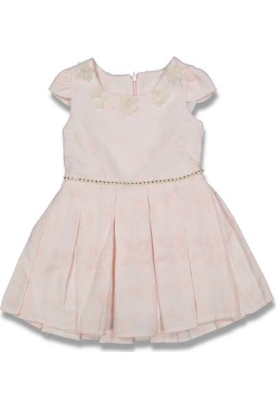 Obella Keten Çiçekli Jakar Kız Çocuk Elbise