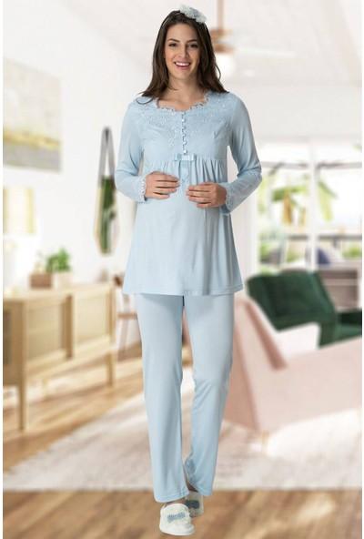 Mecit Pijama Mecit 5414 Mavi Lohusa Pjama Takımı