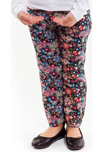 Bani Kids Çiçek Desenli Içten Beli Ayarlanabilir Dar Kesim Siyah Pantolon