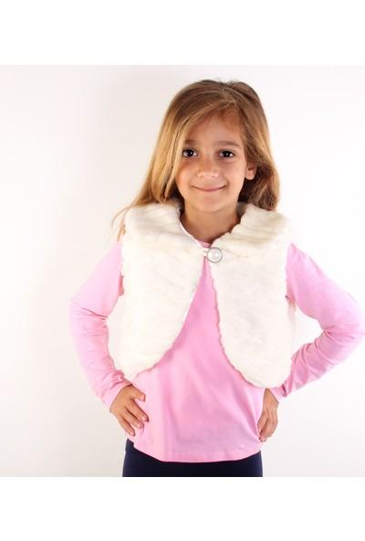 Bani Kids Ekru Kız Çocuk Kürklü Bolero Yelek