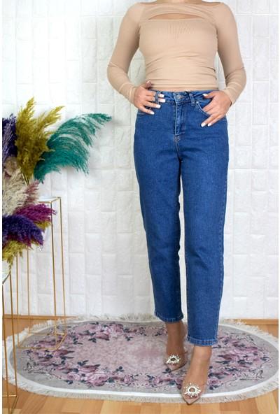 Ymr Mavi Yüksek Bel Mom Jean Pantolon