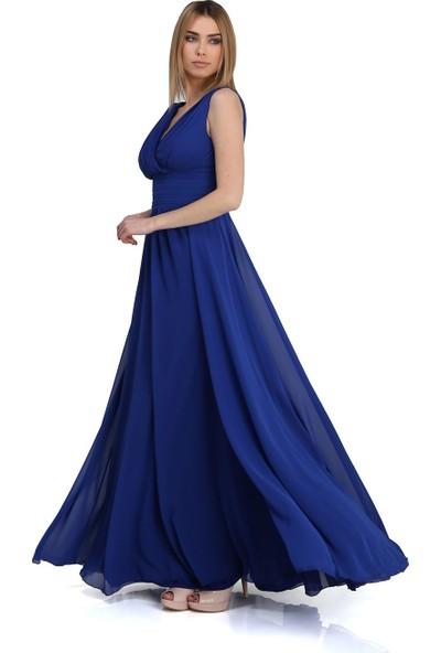 Carmen Saks Şifon V Yaka Uzun Abiye Elbise