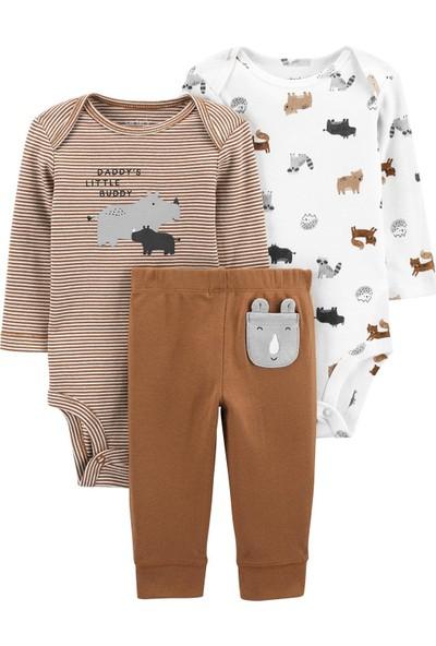 Carter's Hayvanlar 3'lü Bebek Takımı 1J959710 Kahverengi Yenidoğan