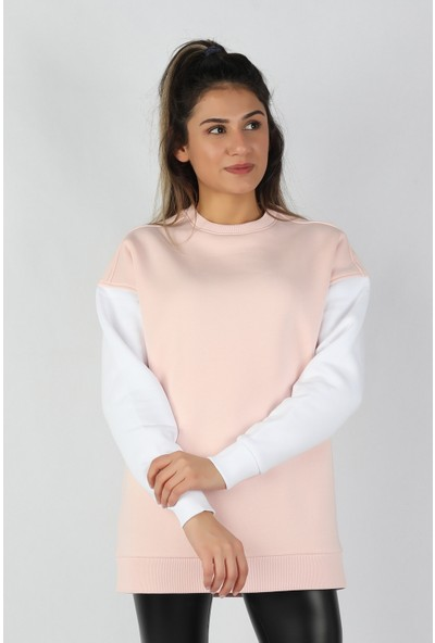 Balins Kadın Kolları Renkli Sweatshirt Pembe
