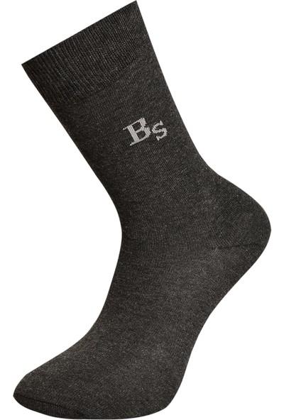 Brave Socks 6'lı Pamuklu Gri Düz Erkek Çorap