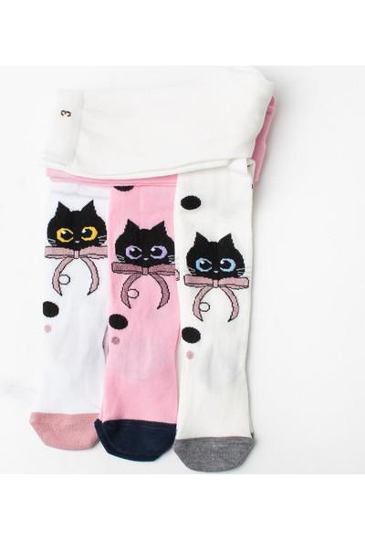 İlbaş 3'lü Fiyonklu Kedili Pamuklu Külotlu Çorap