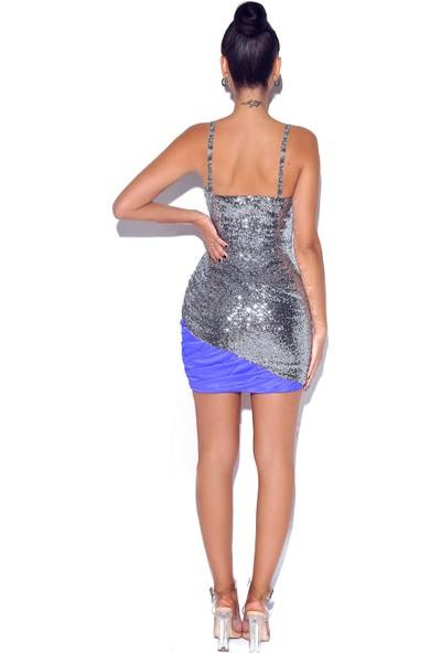 Ergü Füme Mavi Payet Kumaş Drapeli Tül Detaylı Kadın Elbise ERGÜ1455-2