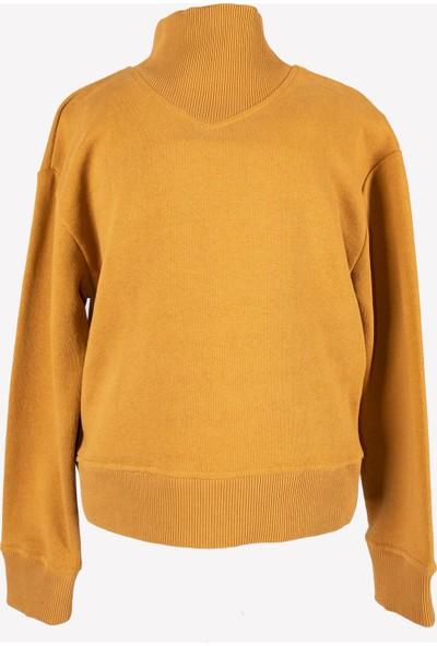 Ozmoz Kız Çocuk Boğazlı Kahve Sweatshirt