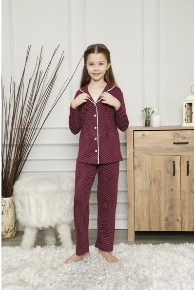 Çekmece Bordo Düğmeli Biyeli Puantiyeli Uzun Kol Pamuklu Pijama Takım