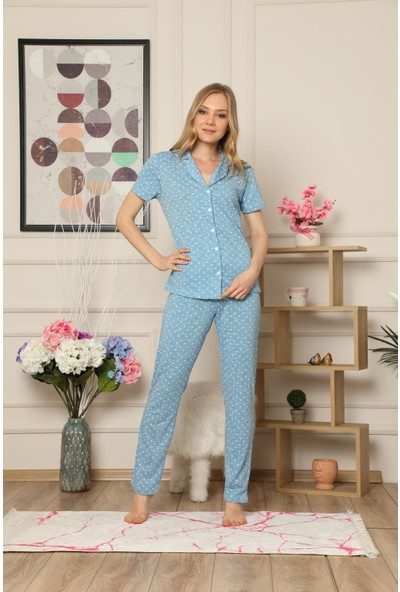 Çekmece Kadın Açık Mavi Düğmeli Puantiyeli Kısa Kol Pamuklu Pijama Takım